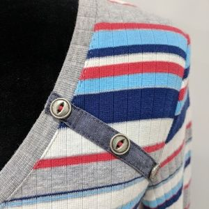 Anthropologie 9-H15 blue and red pullover